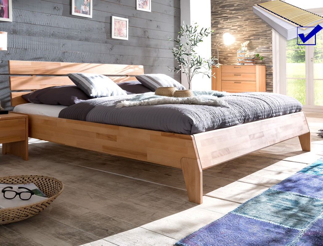 massivholzbett divico 140x200 kernbuche ge lt lattenrost matratze wohnbereiche schlafzimmer. Black Bedroom Furniture Sets. Home Design Ideas
