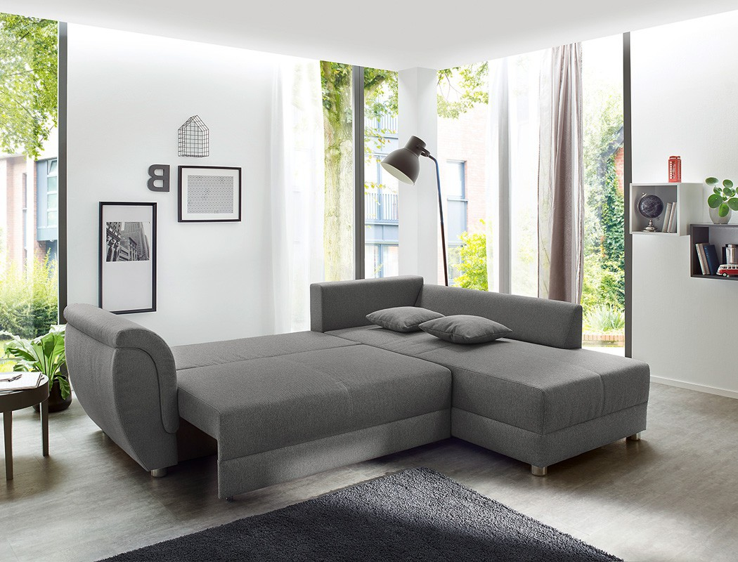 wohnlandschaft grau 256x196 sofa ottomane links rechts eckcouch bettkasten tapio ebay. Black Bedroom Furniture Sets. Home Design Ideas
