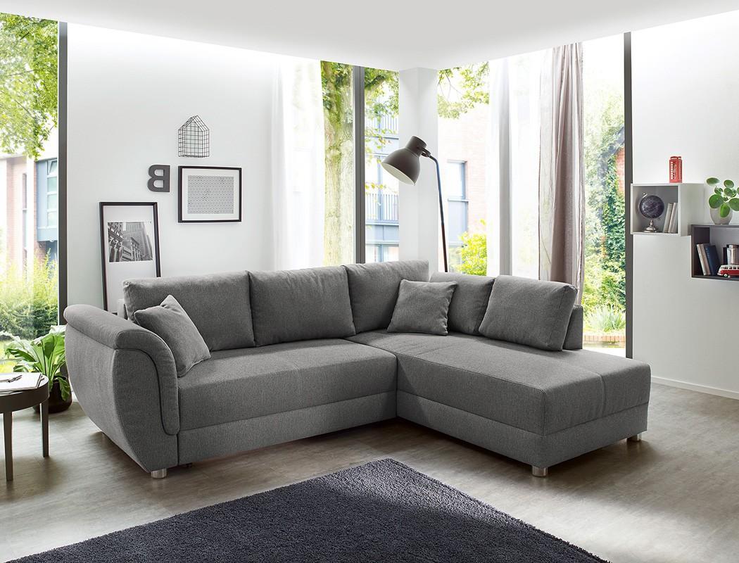 wohnlandschaft grau 256x196 sofa ottomane links rechts eckcouch bettkasten tapio ebay. Black Bedroom Furniture Sets. Home Design Ideas
