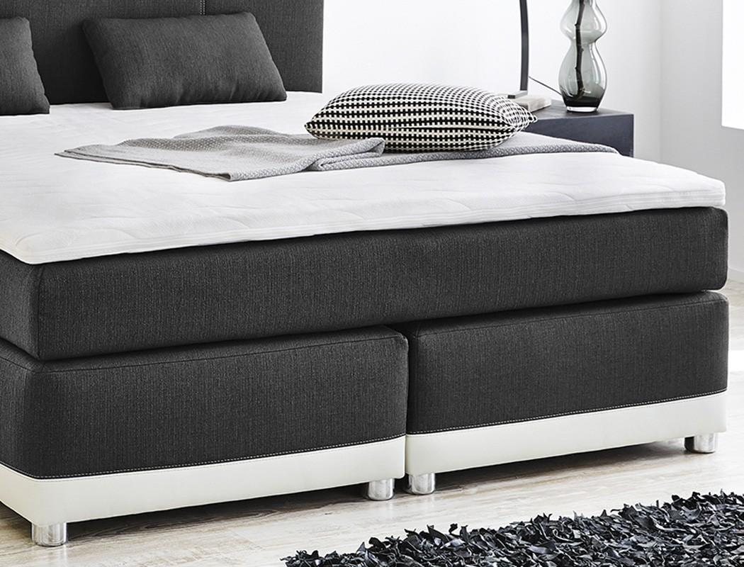 boxspringbett 180x200 grau wei inkl topper kissen doppelbett komfortbett tiana ebay. Black Bedroom Furniture Sets. Home Design Ideas