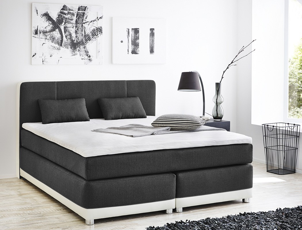 boxspringbett 180x200 grau wei inkl topper kissen. Black Bedroom Furniture Sets. Home Design Ideas