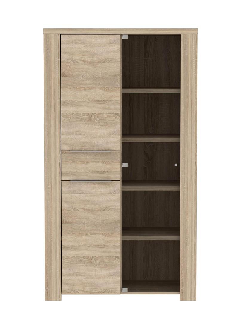 vitrine calvin 1 eiche sonoma 111x197x50cm glasvitrine. Black Bedroom Furniture Sets. Home Design Ideas