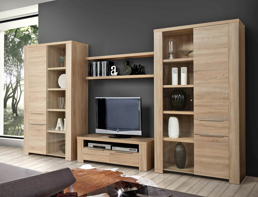 wohnwand calvin 30 eiche sonoma 5 teilig 365x197x50 cm. Black Bedroom Furniture Sets. Home Design Ideas