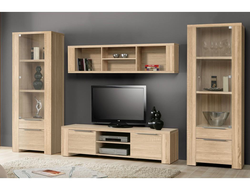 wohnwand calvin 34 eiche sonoma 4 teilig 330x186x50 cm vitrine lowboard wohnbereiche wohnzimmer. Black Bedroom Furniture Sets. Home Design Ideas
