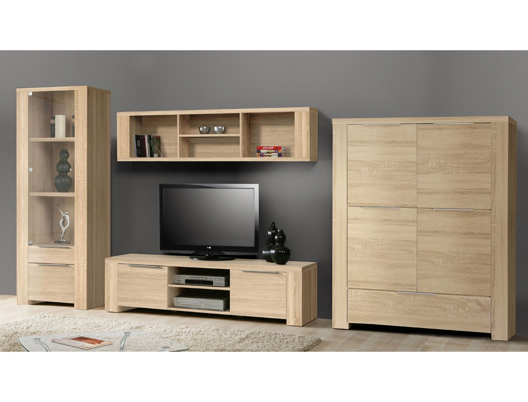 wohnwand calvin 35 eiche sonoma 4 teilig 395x186x50 cm. Black Bedroom Furniture Sets. Home Design Ideas