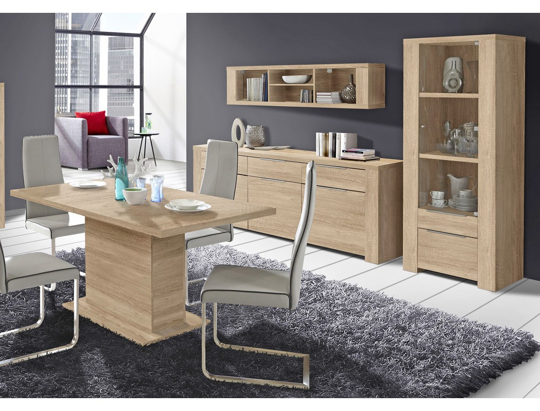 esszimmer calvin 74 eiche sonoma 4 teilig s ulentisch vitrine sideboard m bel m bel sets. Black Bedroom Furniture Sets. Home Design Ideas