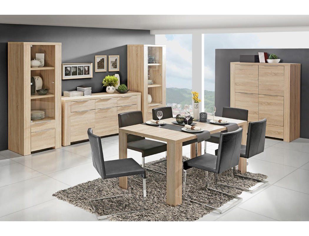 esszimmer calvin 78 eiche sonoma 5 teilig esstisch vitrine. Black Bedroom Furniture Sets. Home Design Ideas