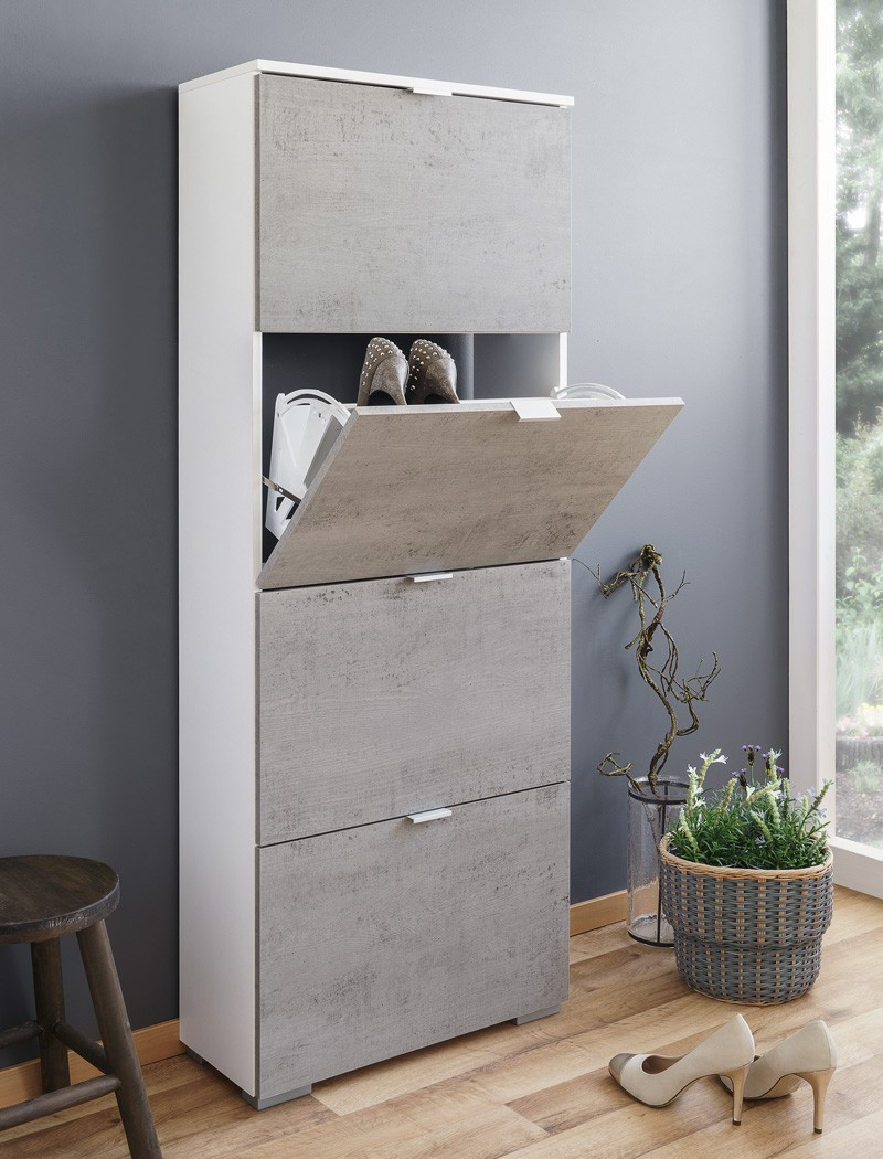 schuhschrank hanau 3 wei beton 58x158x25 cm schuhkipper garderobenschrank ebay. Black Bedroom Furniture Sets. Home Design Ideas