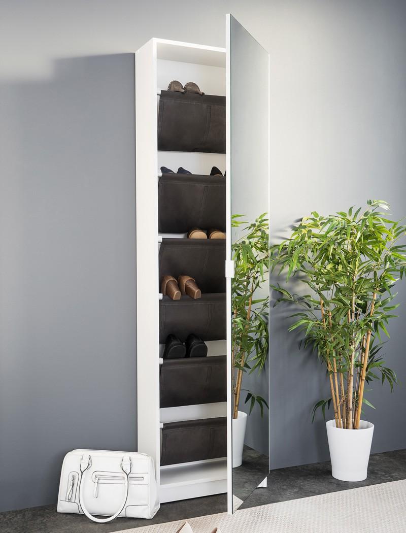 schuhschrank zino wei 50x180x20 cm spiegelt r wandschuhschrank wohnbereiche bad garderobe. Black Bedroom Furniture Sets. Home Design Ideas