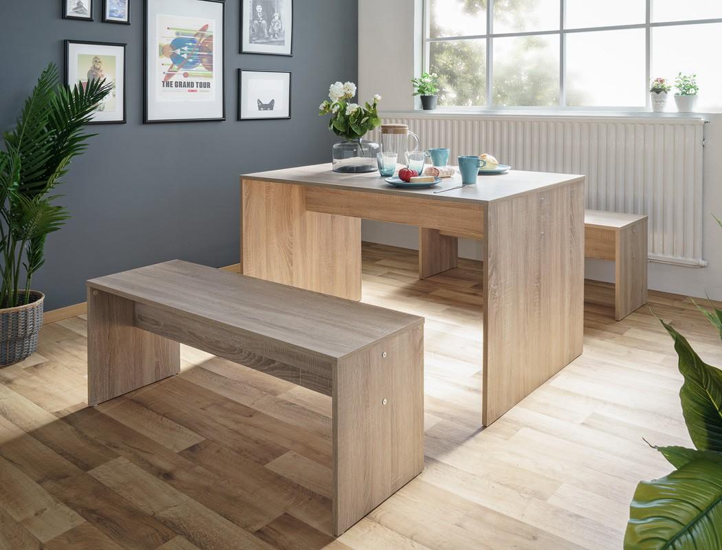 tischgruppe potsdam esstisch 2x bank eiche sonoma essgruppe 120 k che wohnbereiche esszimmer. Black Bedroom Furniture Sets. Home Design Ideas