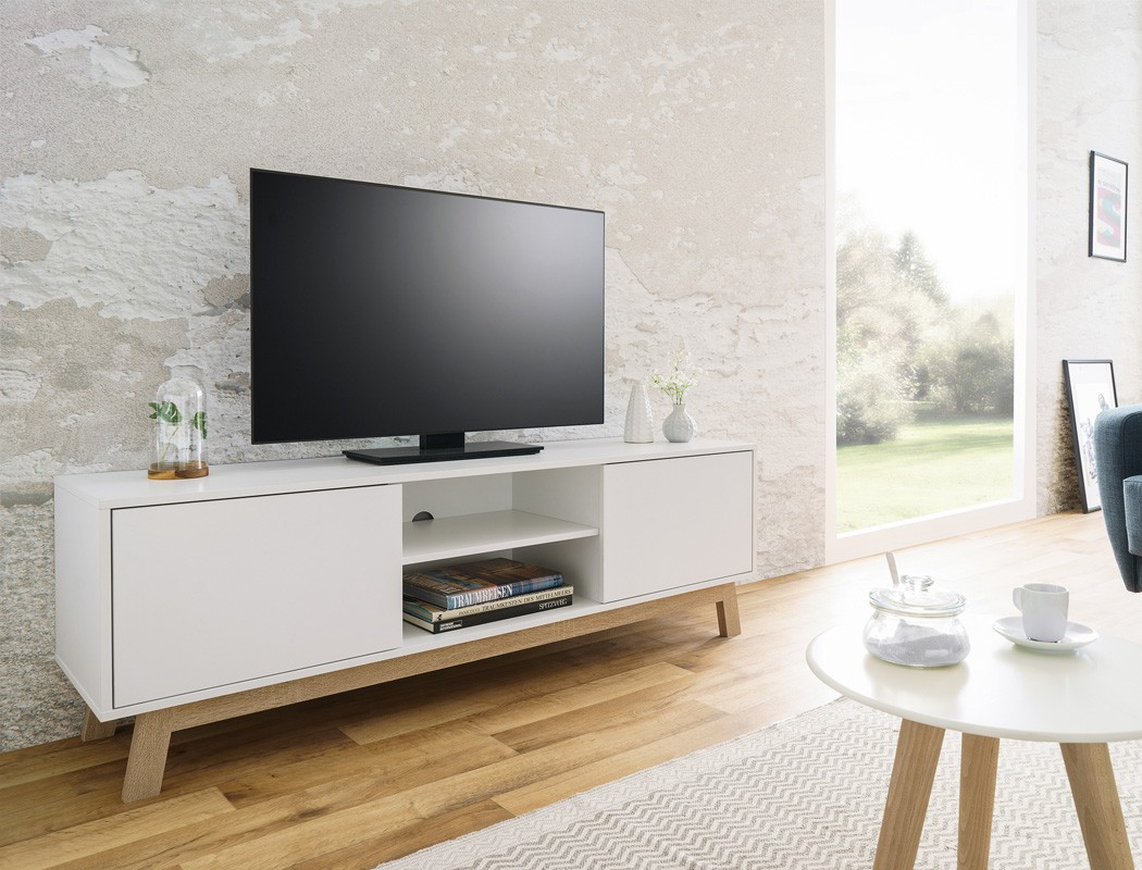 lowboard anzo 8 wei 150x50x40 cm tv board tv schrank tv. Black Bedroom Furniture Sets. Home Design Ideas