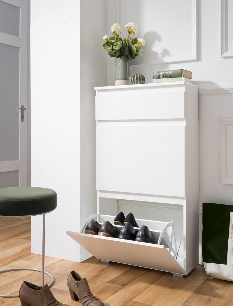 schuhschrank imke 44 wei 58x109x25 cm schuhkipper wandschuhschrank wohnbereiche bad garderobe. Black Bedroom Furniture Sets. Home Design Ideas