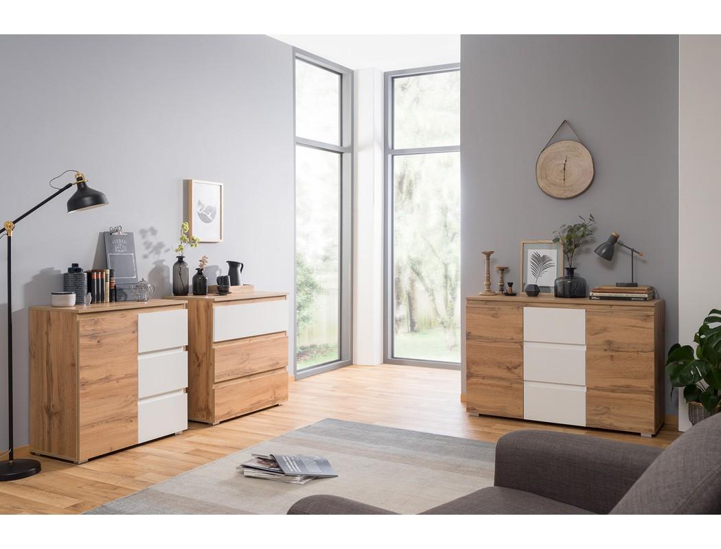kommode imke 2 honigeiche 80x80x40 cm sideboard schrank. Black Bedroom Furniture Sets. Home Design Ideas