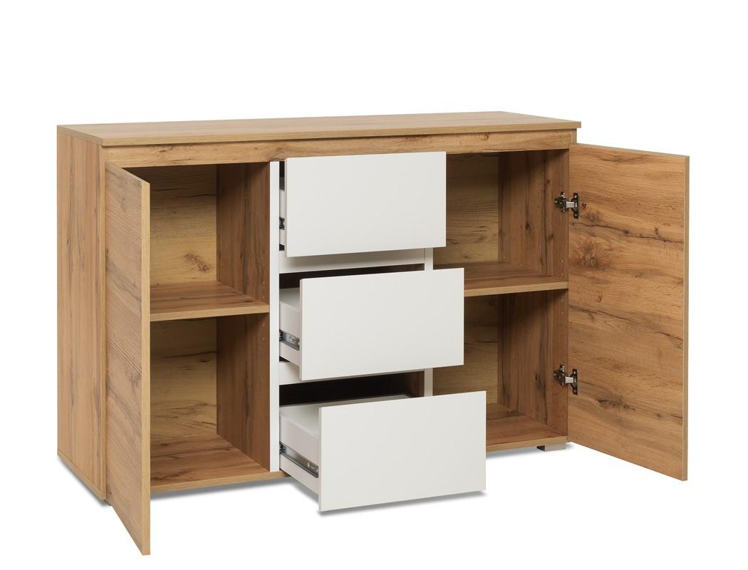 sideboard imke 4 honigeiche 120x80x40 cm anrichte kommode wohnzimmer wohnbereiche wohnzimmer. Black Bedroom Furniture Sets. Home Design Ideas