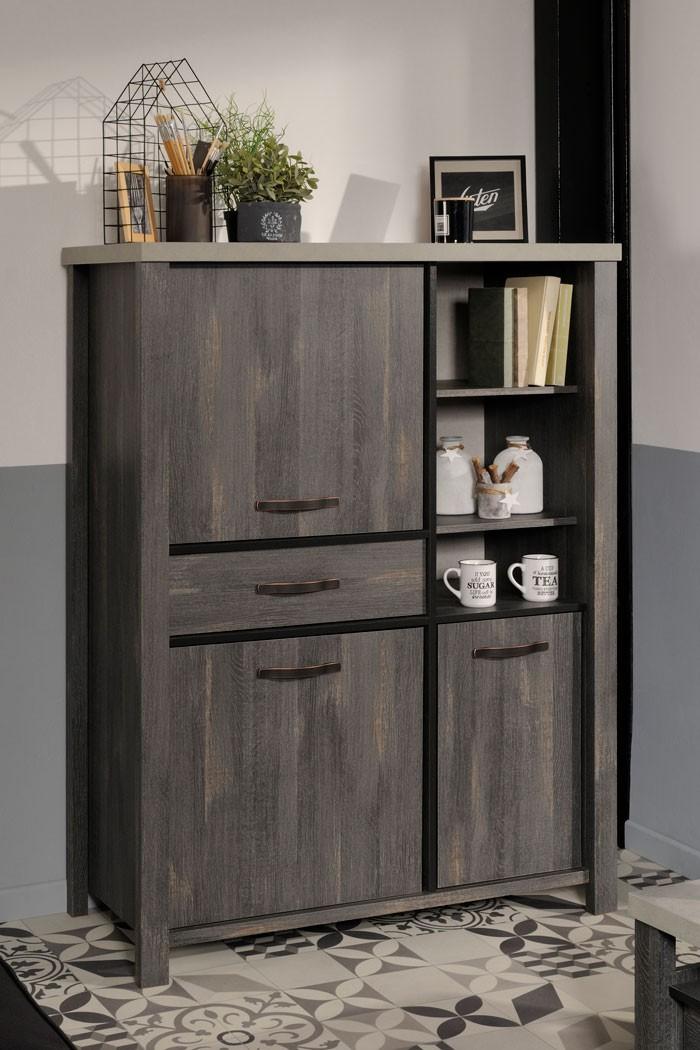 highboard maxim 10 eiche grau 111x148x50 cm schrank. Black Bedroom Furniture Sets. Home Design Ideas