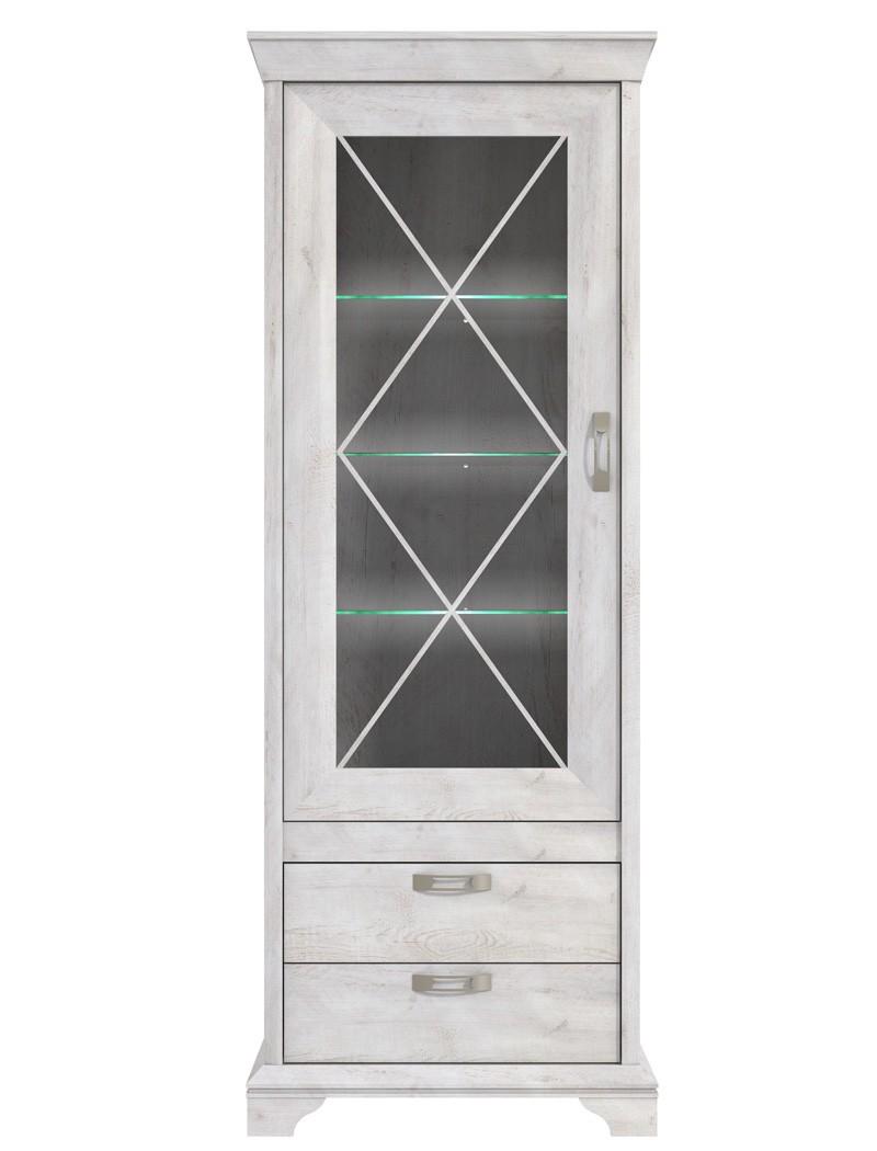 vitrine kasimir 5 pinie wei 78x210x48 cm glasvitrine led beleuchtung wohnbereiche wohnzimmer. Black Bedroom Furniture Sets. Home Design Ideas