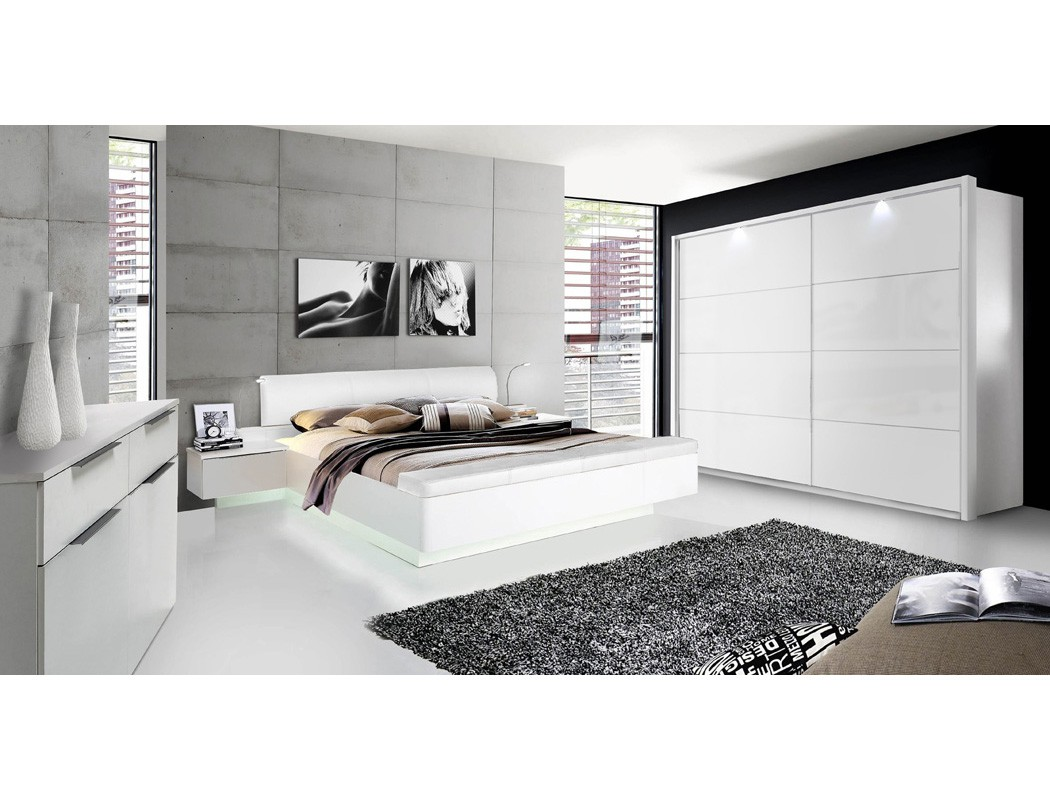 doppelbett sophie 1 wei hochglanz 180x200 ehebett mit 2x nachtkonsole bett nako 4251177641824. Black Bedroom Furniture Sets. Home Design Ideas