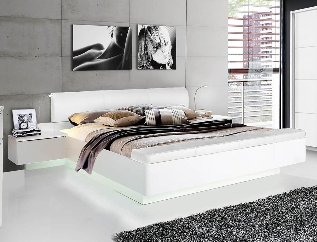 doppelbett sophie 1 wei hochglanz 180x200 ehebett 2x nako beleuchtung wohnbereiche schlafzimmer. Black Bedroom Furniture Sets. Home Design Ideas