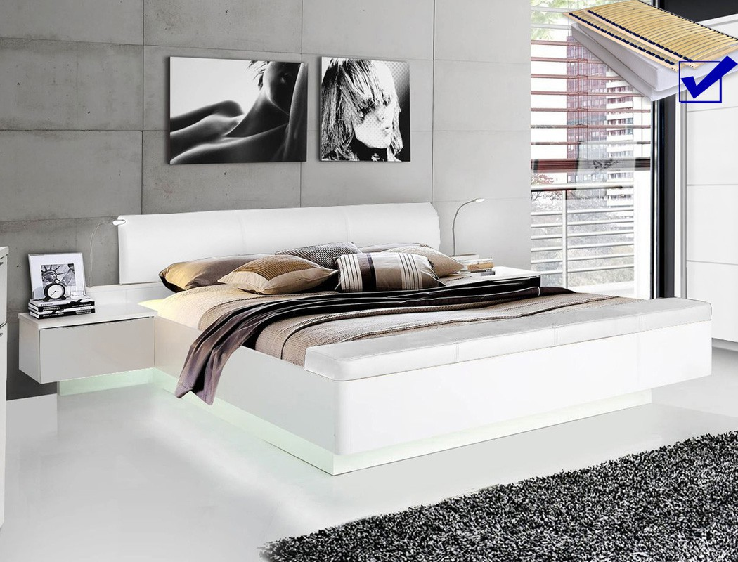 doppelbett sophie 1 wei 180x200 ehebett beleuchtung rost matratze wohnbereiche schlafzimmer. Black Bedroom Furniture Sets. Home Design Ideas
