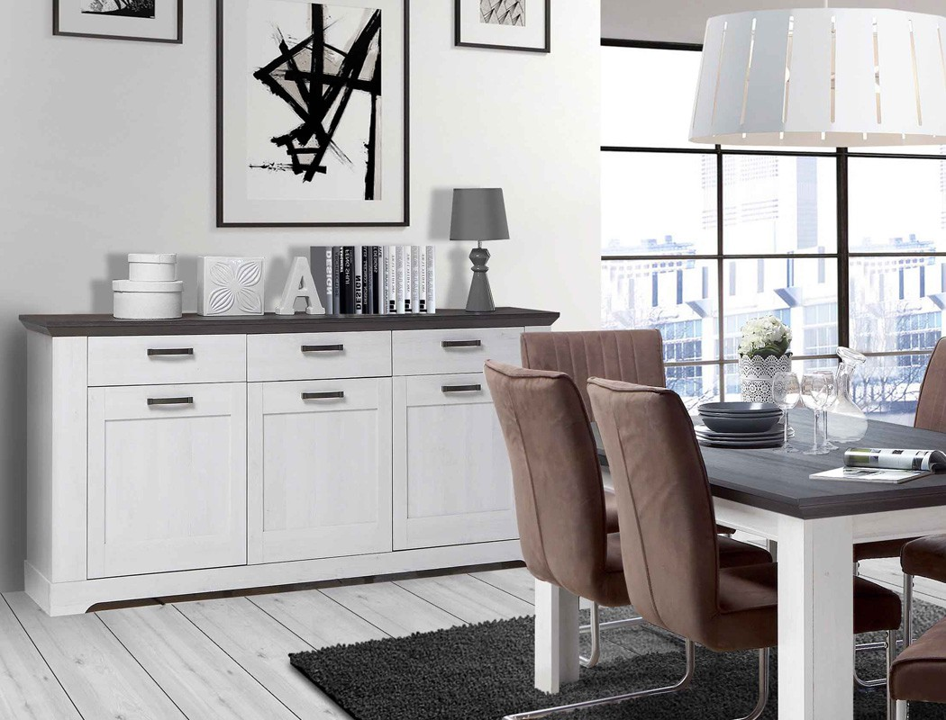 kommode weiss grau 175x93cm schneeeiche anrichte sideboard landhausstil gaston 5 ebay. Black Bedroom Furniture Sets. Home Design Ideas