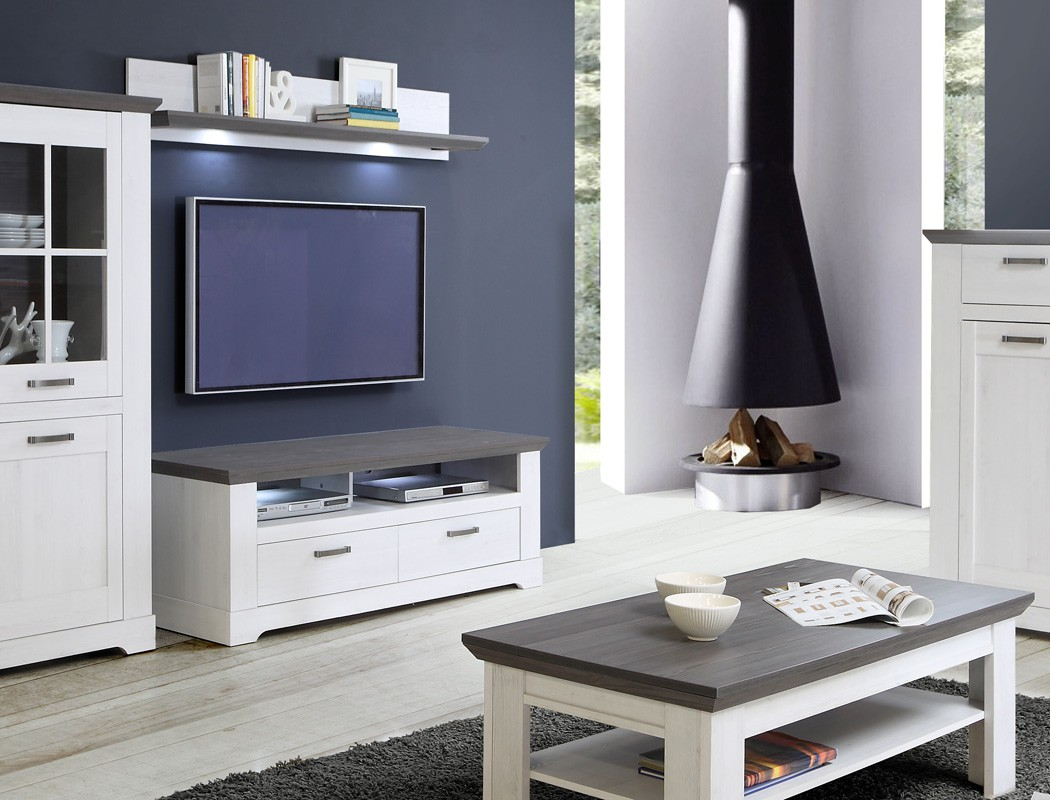 tv board gaston 25 weiss grau 145x54cm beleuchtung lowboard tv schrank wohnbereiche wohnzimmer. Black Bedroom Furniture Sets. Home Design Ideas