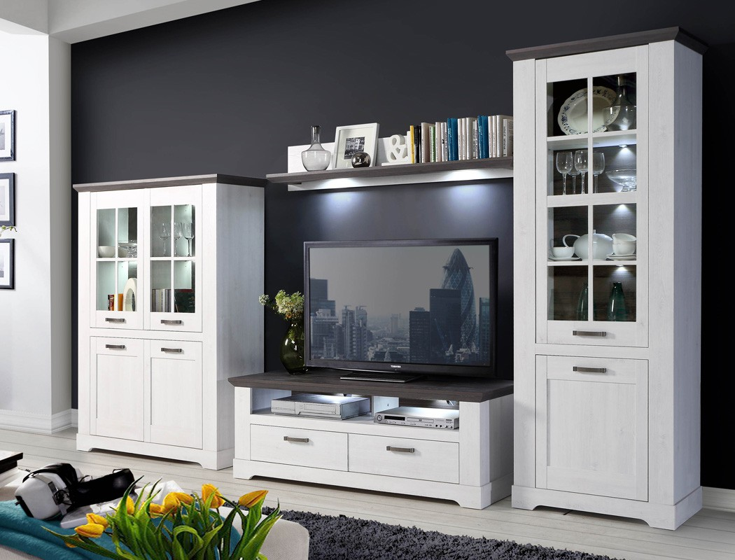 wohnwand weiss grau 4 teilig 356x210 beleuchtung. Black Bedroom Furniture Sets. Home Design Ideas