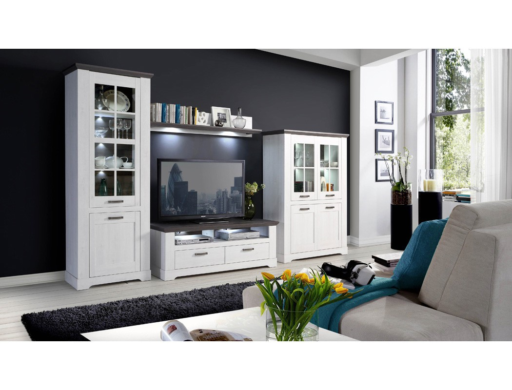 wohnwand weiss grau 4 teilig 356x210 beleuchtung schrankwand landhaus gaston 40 ebay. Black Bedroom Furniture Sets. Home Design Ideas