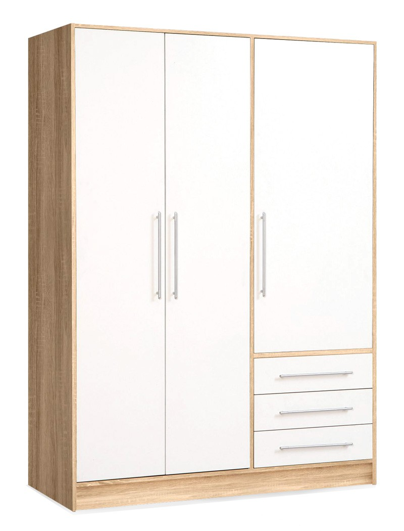 kleiderschrank junis 1 wei sonoma eiche 145x200x60 cm. Black Bedroom Furniture Sets. Home Design Ideas