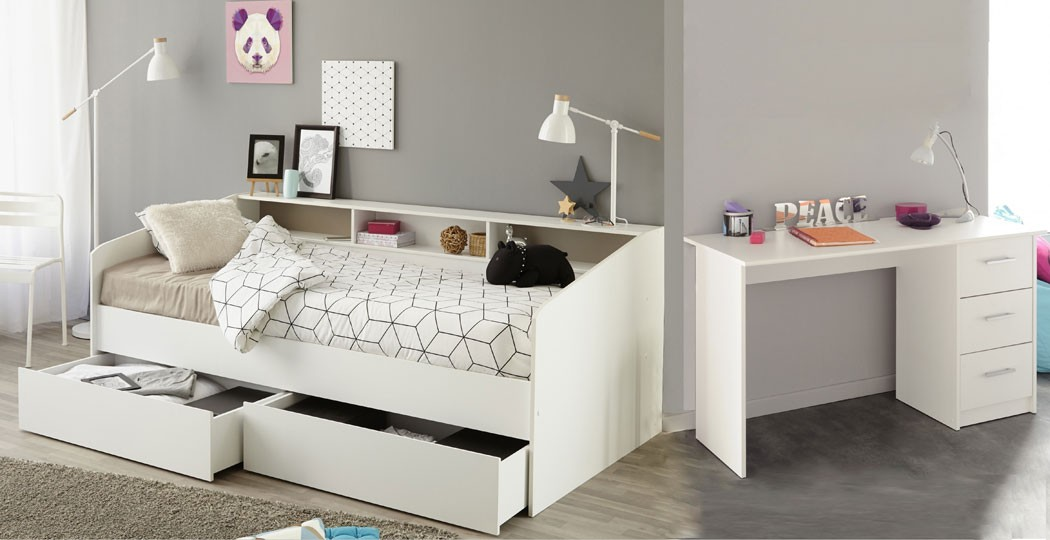 jugendzimmer selby 16 wei stauraumbett 2x bettkasten schreibtisch wohnbereiche kinder. Black Bedroom Furniture Sets. Home Design Ideas