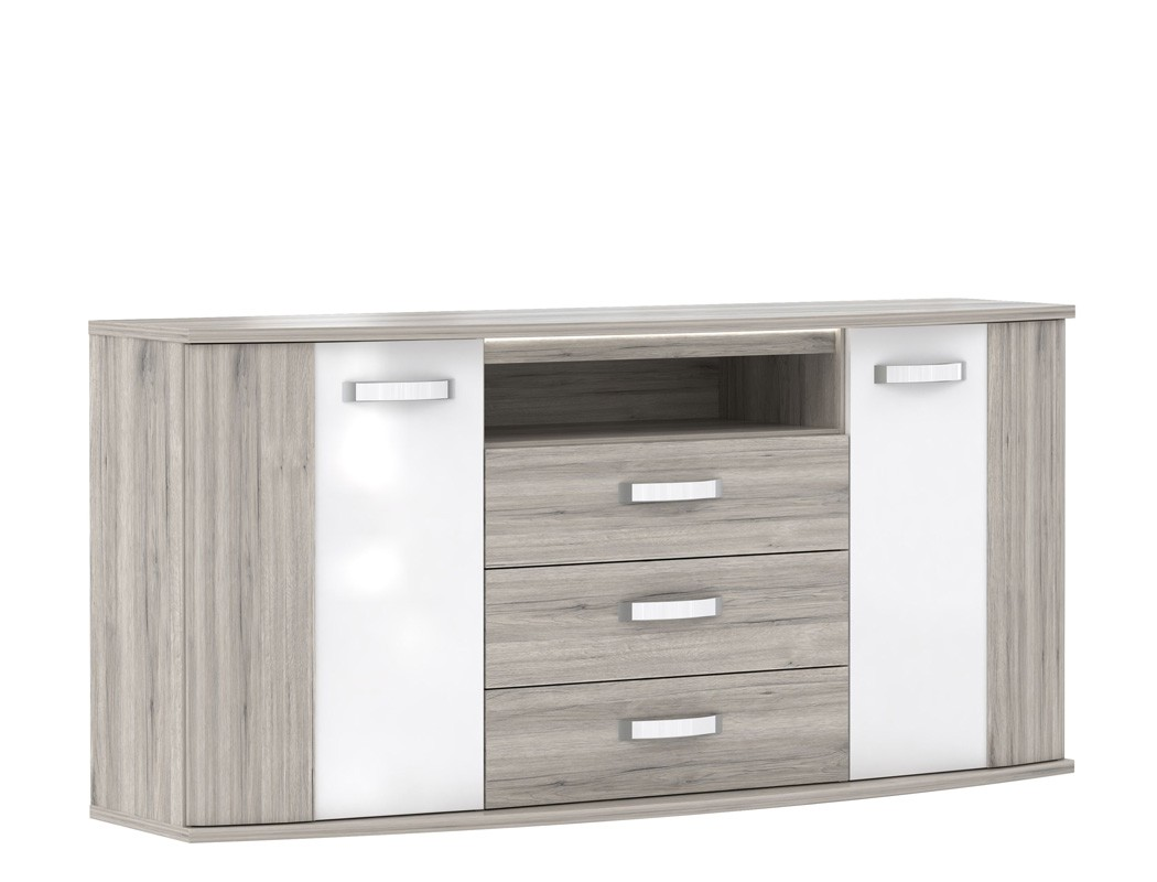 sideboard rubio 11 sandeiche wei hochglanz 170x82x48 cm kommode led wohnbereiche schlafzimmer. Black Bedroom Furniture Sets. Home Design Ideas