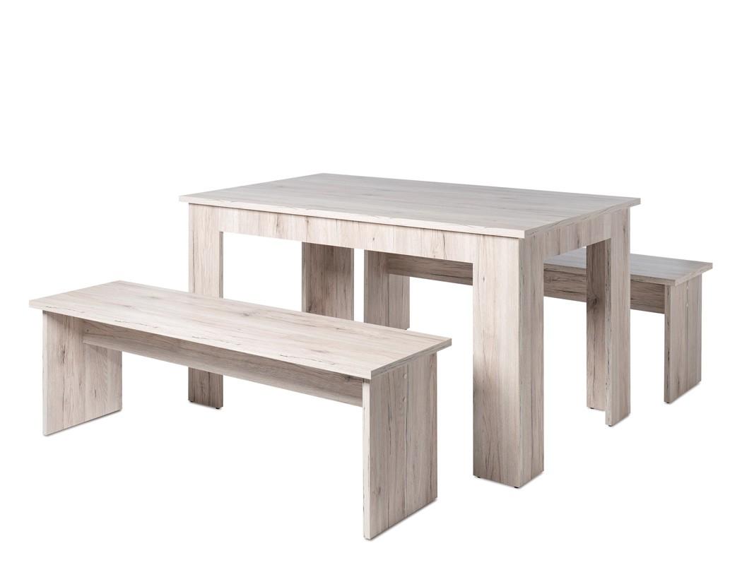 tischgruppe hamburg sorrento eiche esstisch 140x80 cm 2x bank k che wohnbereiche esszimmer. Black Bedroom Furniture Sets. Home Design Ideas