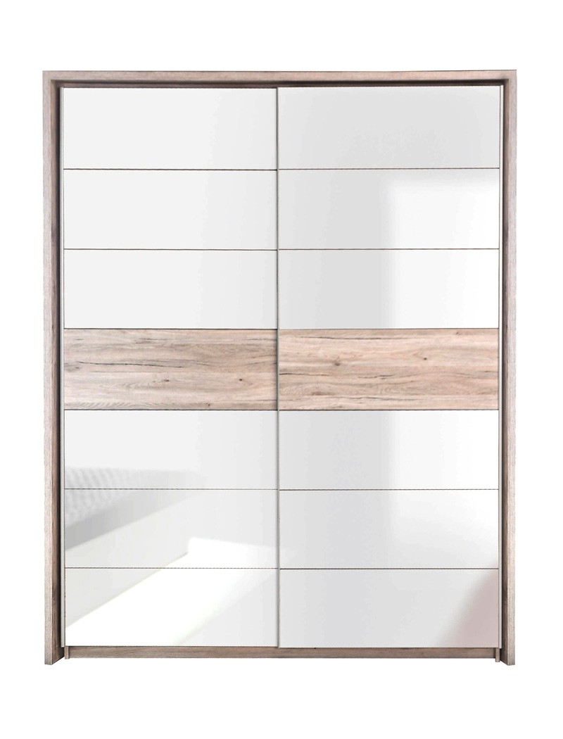 schwebet renschrank rubio 8 sandeiche wei hochglanz 170x210x61 cm wohnbereiche schlafzimmer. Black Bedroom Furniture Sets. Home Design Ideas