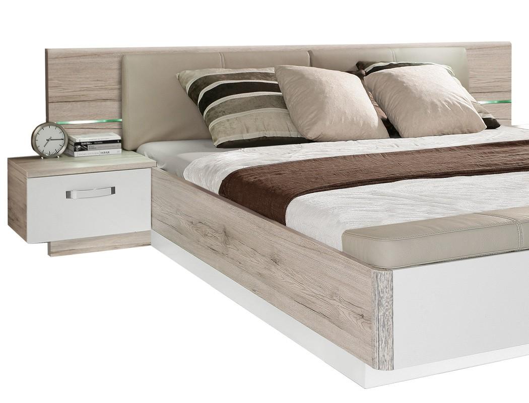 doppelbett rubio 1 sandeiche wei 180x200 bett 2x nako rost matratze wohnbereiche schlafzimmer. Black Bedroom Furniture Sets. Home Design Ideas
