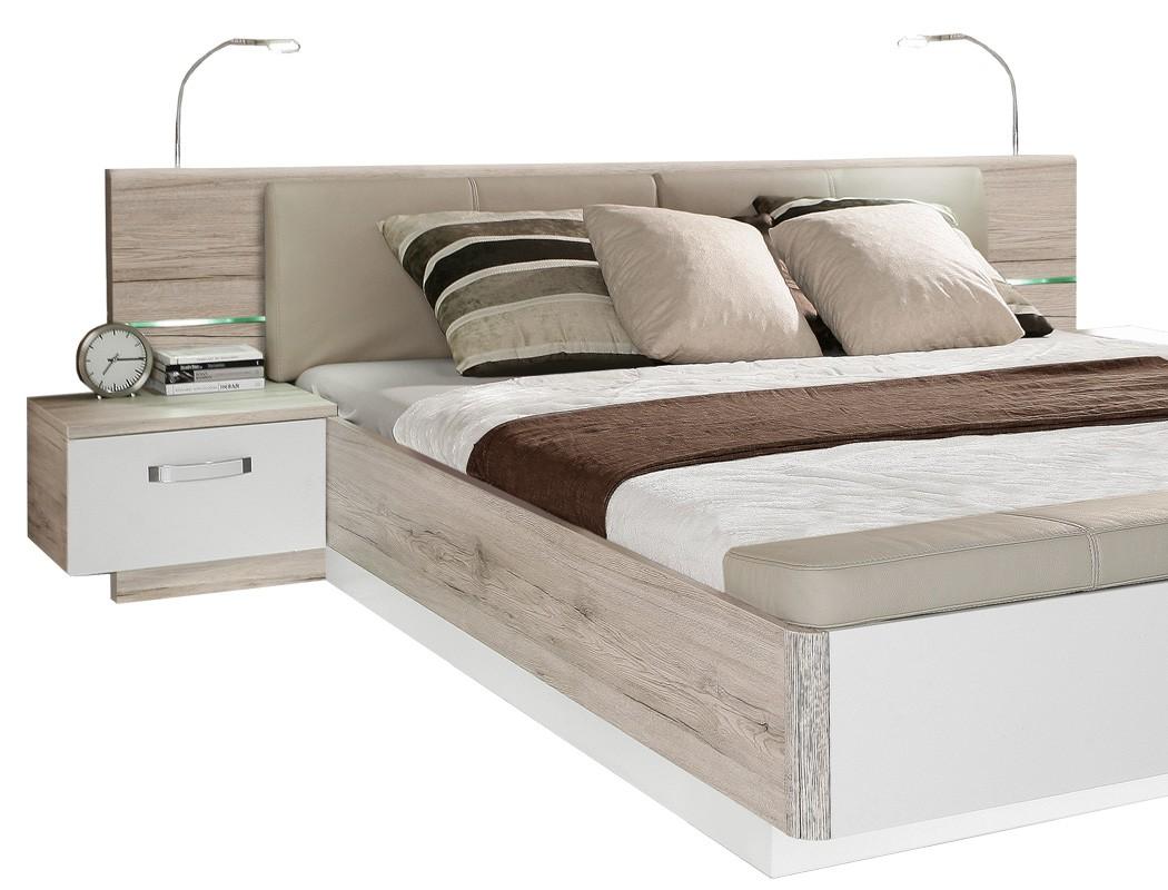 doppelbett rubio 1 sandeiche wei 180x200 bett led nako. Black Bedroom Furniture Sets. Home Design Ideas
