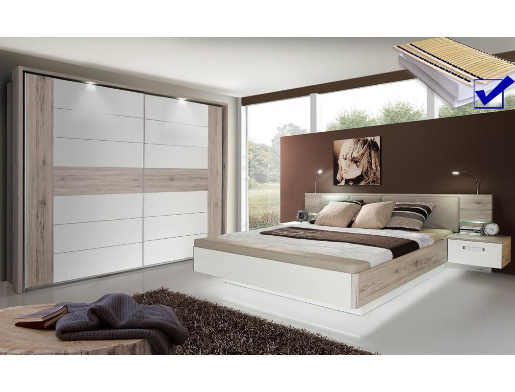 schlafzimmer rubio 20b sandeiche wei bett komplett nako schrank led wohnbereiche schlafzimmer. Black Bedroom Furniture Sets. Home Design Ideas
