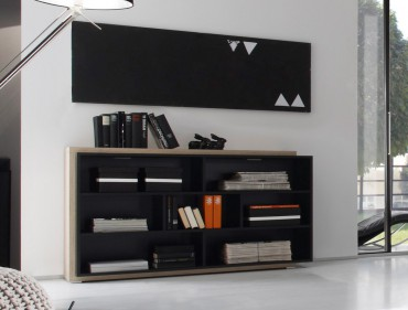 Regal Scott 139x79x38cm schwarz Design Eiche Nb Regalschrank Sideboard – Bild 1