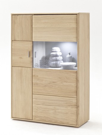 Highboard Torrent 10 links Eiche bianco massiv 94x140x39 cm Schrank