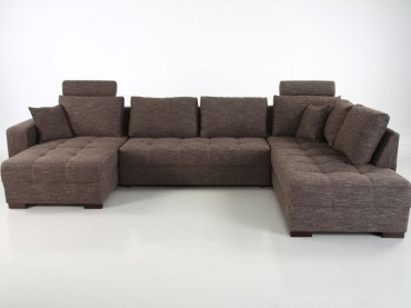 Wohnlandschaft Antigua braun 357x222x162 cm Bettfunktion Sofa Couch