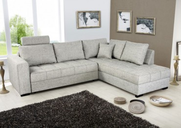 Polsterecke Aurum hellgrau 267x221cm Bettfunktion Sofa Couch Eckcouch
