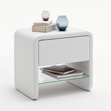 nachtkonsole nachttisch flash 53x52x43cm weiss kunstleder. Black Bedroom Furniture Sets. Home Design Ideas