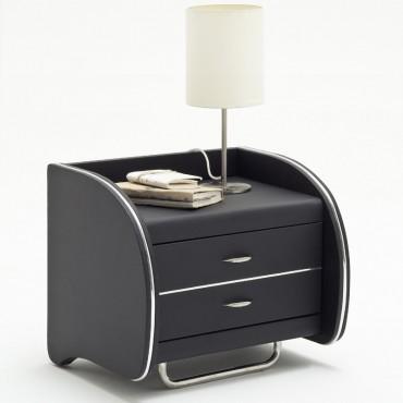 nachtkonsole nachttisch goar 55x49x45cm schwarz kunstleder - Moderne Nachttische Schwarz
