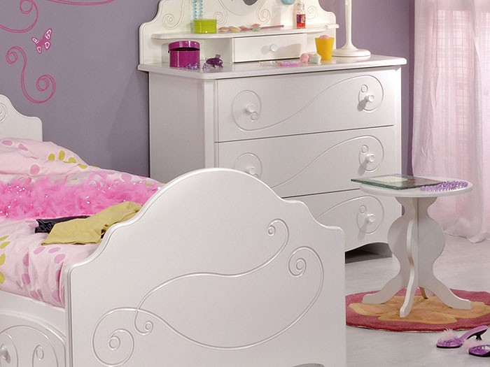 kinderzimmer anne 2 6 tlg wei lackiert kinderbett nachttisch kommode hocker ebay. Black Bedroom Furniture Sets. Home Design Ideas