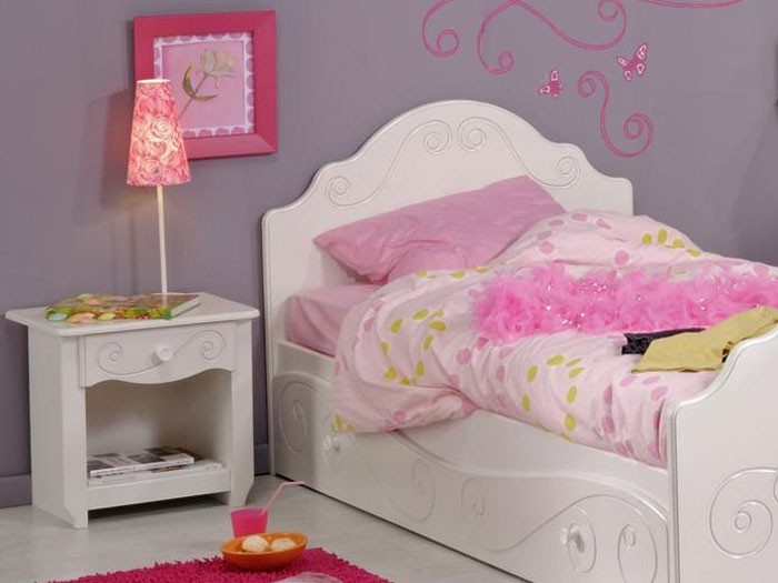 kinderbett anne 3 weiss lackiert 90x200 nachttisch. Black Bedroom Furniture Sets. Home Design Ideas