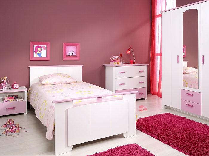 Kinderzimmer beauty 12 4 teilig wei rosa schrank bett for Kinderzimmer nachttisch