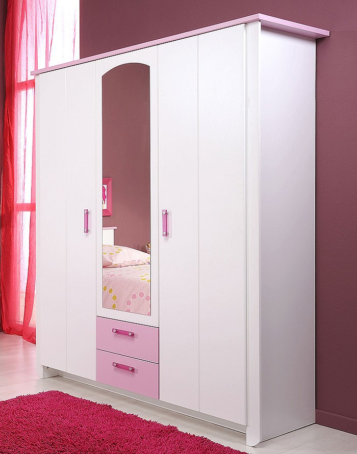 kinderzimmer beauty 12 4 teilig wei rosa schrank. Black Bedroom Furniture Sets. Home Design Ideas
