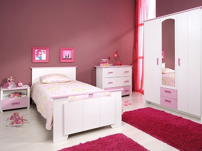 kinderzimmer beauty 12, 4-tlg weiß rosa, schrank kinderbett ... - Kommode Kinderzimmer Weis