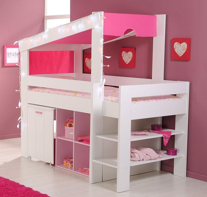 Himmelbett kinderbett prinzessin  Hochbett Beauty 5, 90x200cm, weiß rosa lackiert, Kinderbett ...