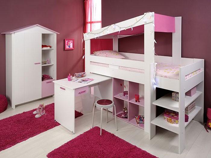 Hochbett kinder weiss  Hochbett Beauty 5, 90x200cm, weiß rosa, Kinderbett Schreibtisch ...