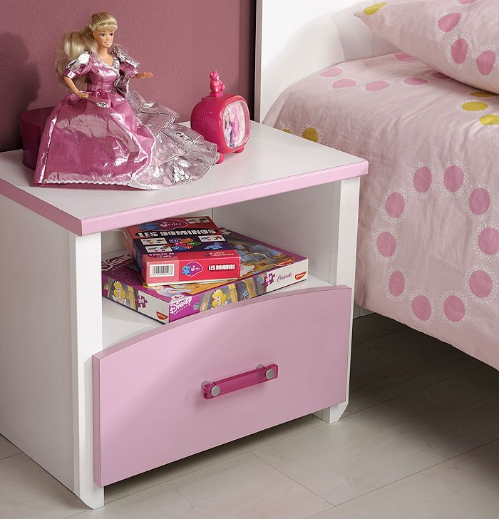 kinderbett beauty 4 mit nachttisch 90x200cm wei rosa lackiert wohnbereiche kinder. Black Bedroom Furniture Sets. Home Design Ideas