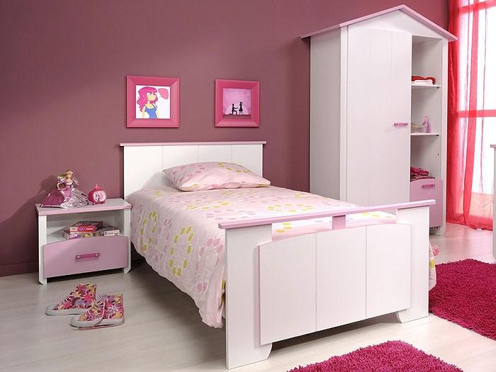 Kinderbett beauty 4 mit nachttisch 90x200cm wei rosa for Jugendzimmer mit 2 betten